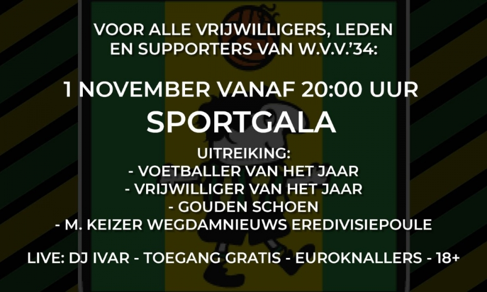 Sportgala 2019 op 1 november a.s.